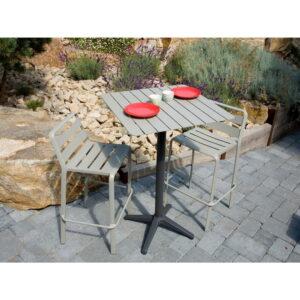 Set masă de bar și 2 scaune din aluminiu pentru grădină Ezeis Spring