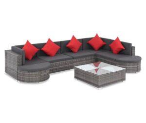 Set mobilier de gradina cu perne, 8 piese, gri, poliratan