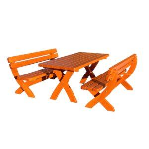 Set WIEN din lemn masiv de rasinos,180x80 cm, pentru gradina sau terasa, o masa si doua banci, culoare cires